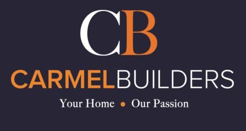 Carmel logo - Orange 716 on Blue 296